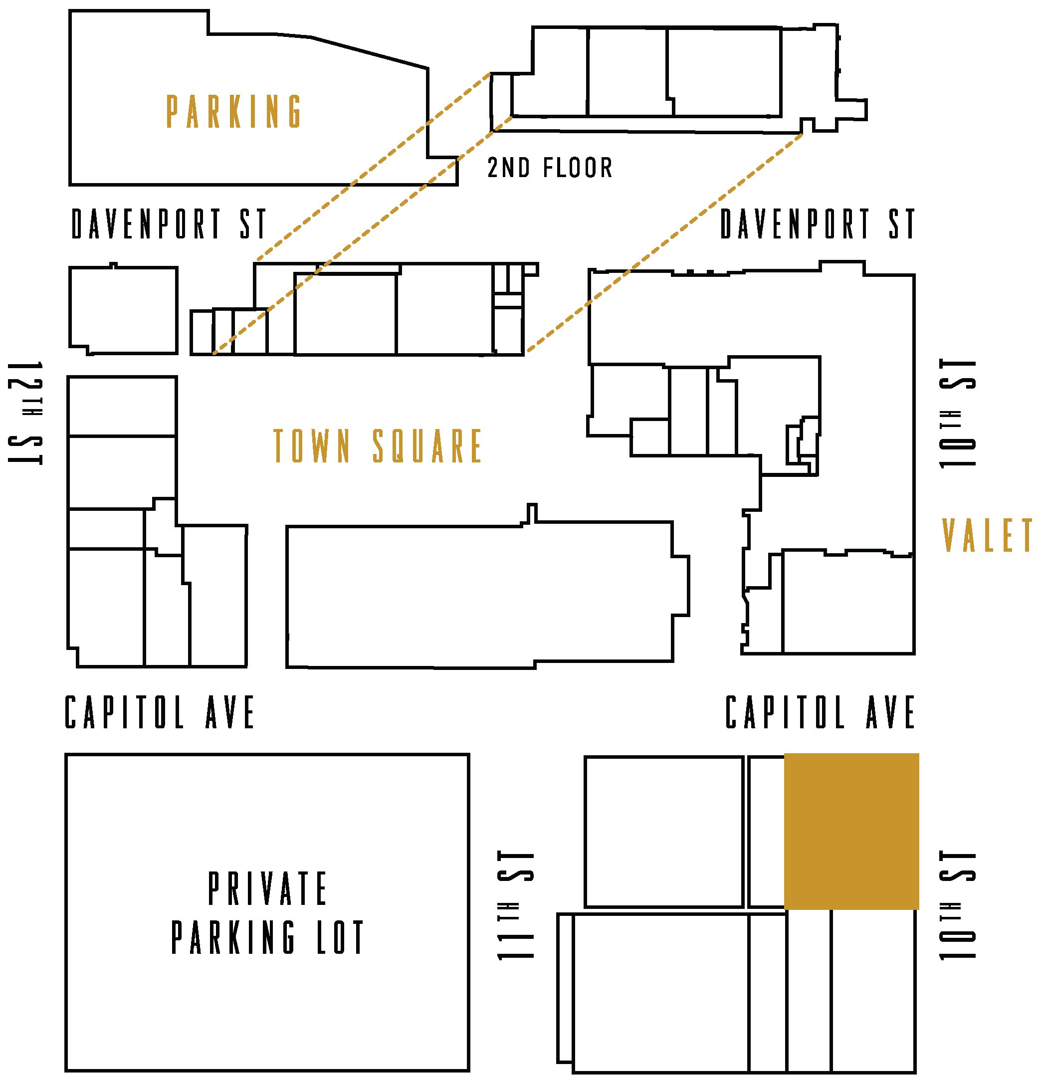 The Capitol District Map highlighting Beer Can Alley